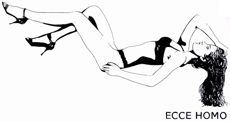 une femme dénudée et lascive, attire le regard. Seul le titre semble contredire l'image : Ecce Homo (Voici l'homme).