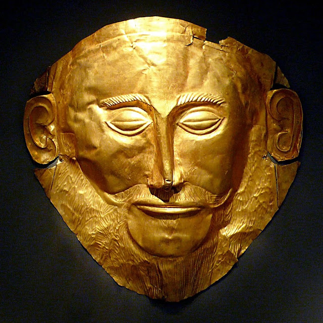 Bronze age - Gold Mask of Agamemno produced during the Mycenaean civilization, from Mycenae, Greece, 1550 BC