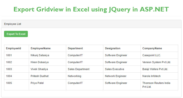 Export Gridview in Excel using JQuery in ASP.NET Web Forms
