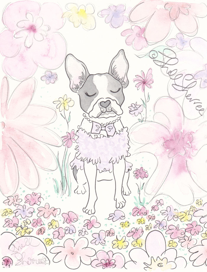 Boston Terrier Clementine's Flower Patch dog illustration  © Shell Sherree all rights reserved