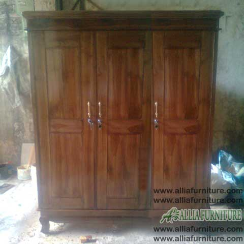 lemari baju kayu jati 3 pintu anak
