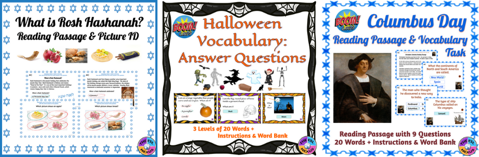 Covers for the Rosh hashanah, Columbus Day, and Halloween Boom Cards resources by The ESL Nexus