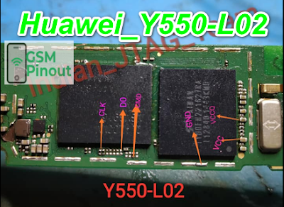 Huawei Ascend Y550-L02 ISP(EMMC) Pinout For EMMC Programming Flashing And Remove FRP Lock