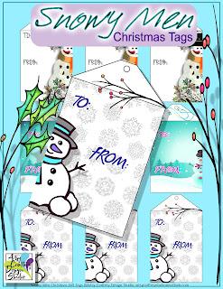 Printable Christmas Tags Snowmen Design