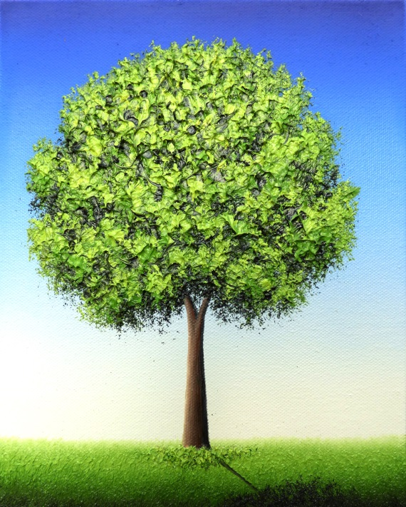 Green Tree Of Life Oil Painting Textured Tree Art Contemporary