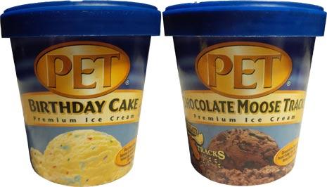 PET Birthday Cake Ice Cream And Chocolate Moose Tracks