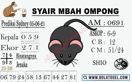 Syair Mbah Ompong Sydney Sabtu 05-Juni-2021