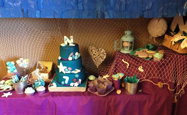 debajo de mar; tartas; mesa dulce; mar, verano; julio; galletas; chuches; cupcakes; sirenita; mar