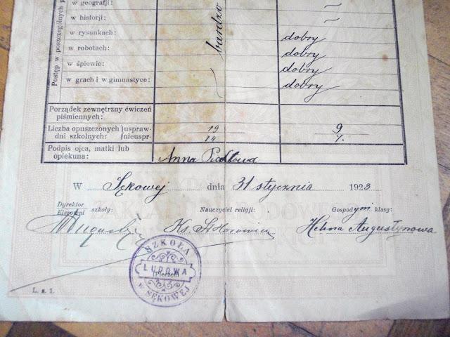 Świadectwo szkolne 1922/1923