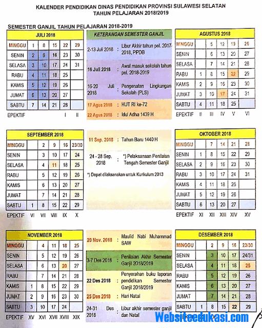 Kalender Pendidikan Provinsi Sulawesi Selatan Tahun 2018/2019