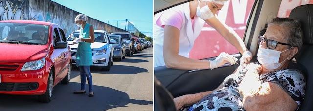 Anápolis: Com modelo drive-thru 10 mil idosos foram imunizados nesta segunda-feira