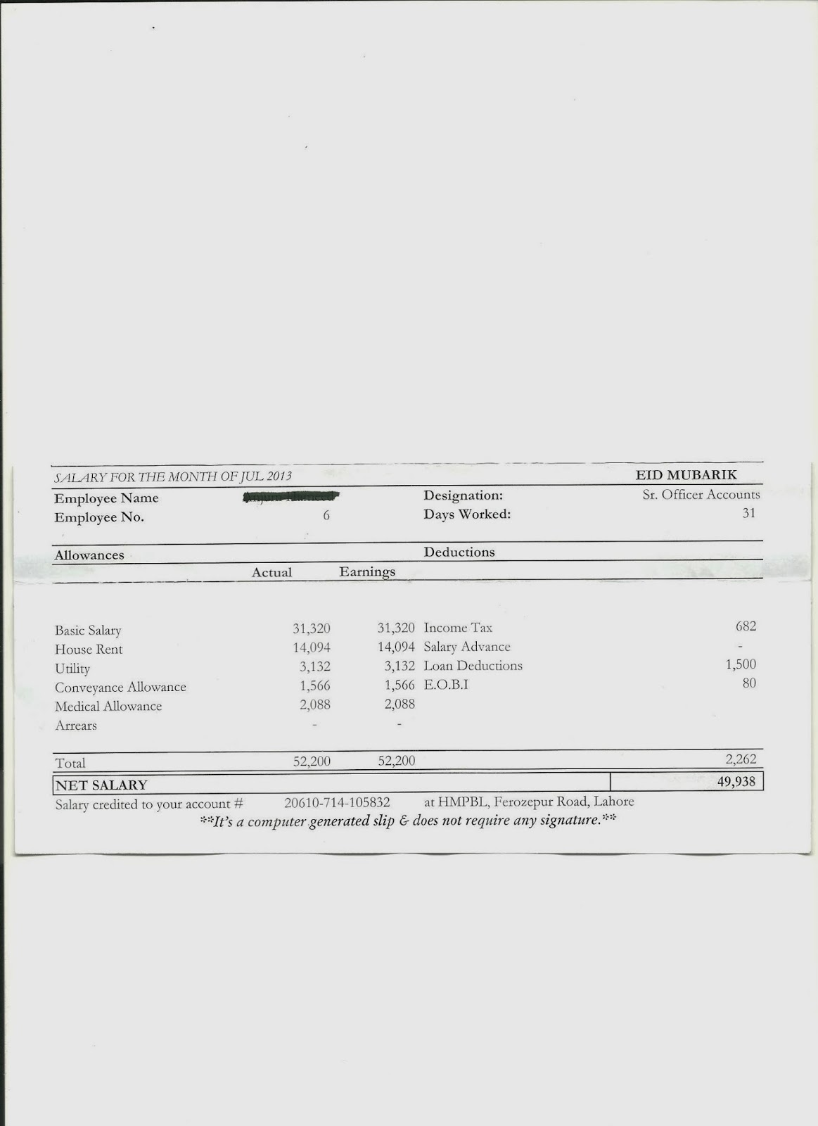 Payroll Payslip Template sample of payroll slip salary payslip – Blank Wage Slips