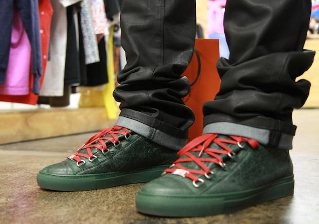 4551e8fbcaf5 Green   Brown Suede Balenciaga Arena Fall Winter 2011 Sneakers