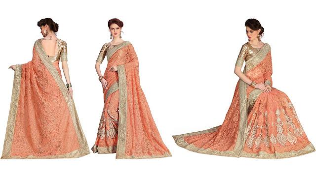 Pragati Fashion Hub Embroidered Bollywood Net Saree  (Magenta, Beige)