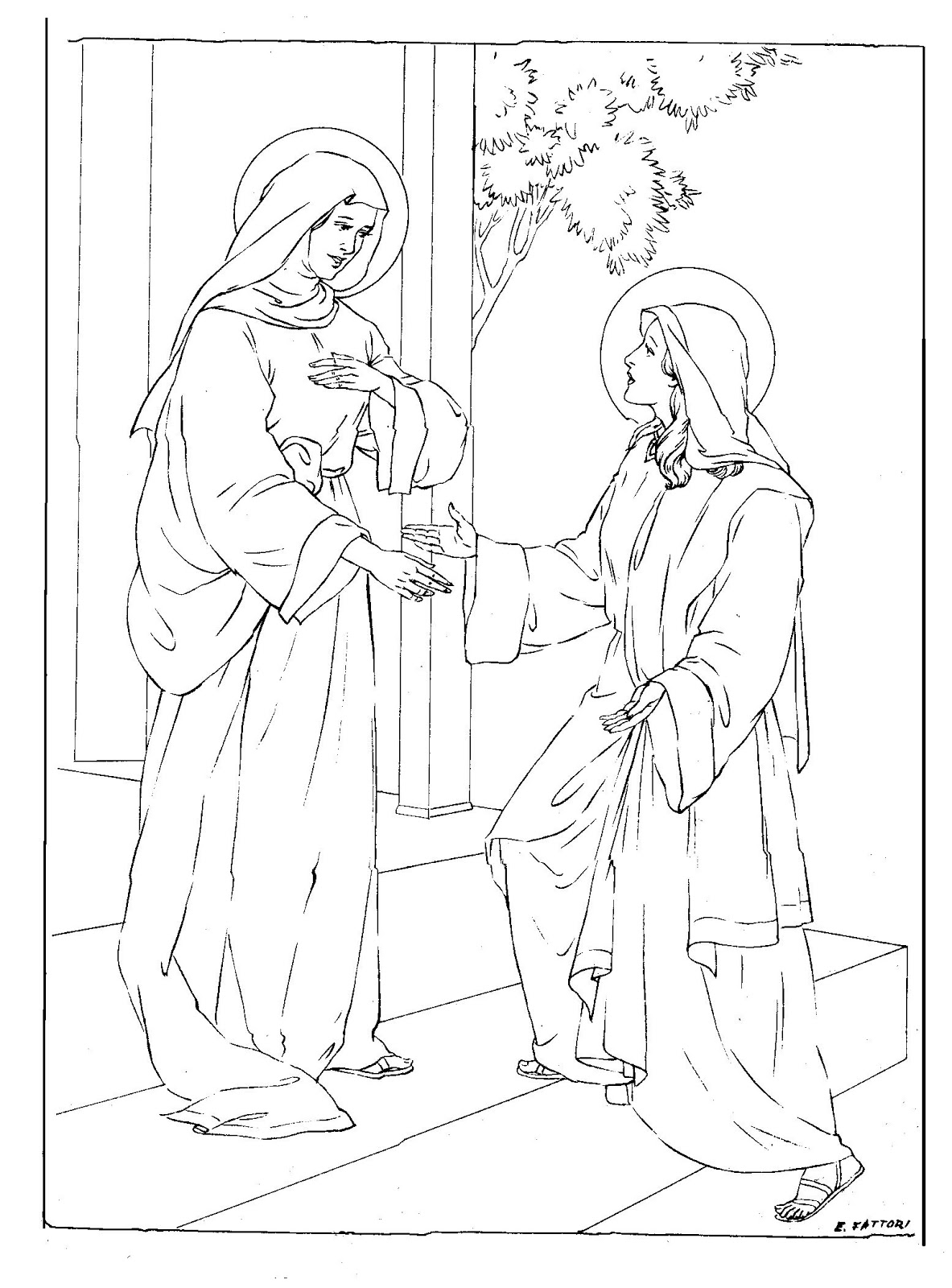 Virgin Mary Coloring Pages Sketch Coloring Page