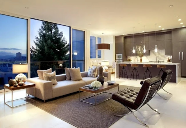 Desain Interior Ruang Keluarga Menyatu Dengan Dapur