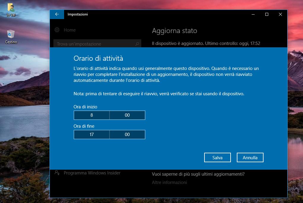 Orario di attività predefinito Windows Update