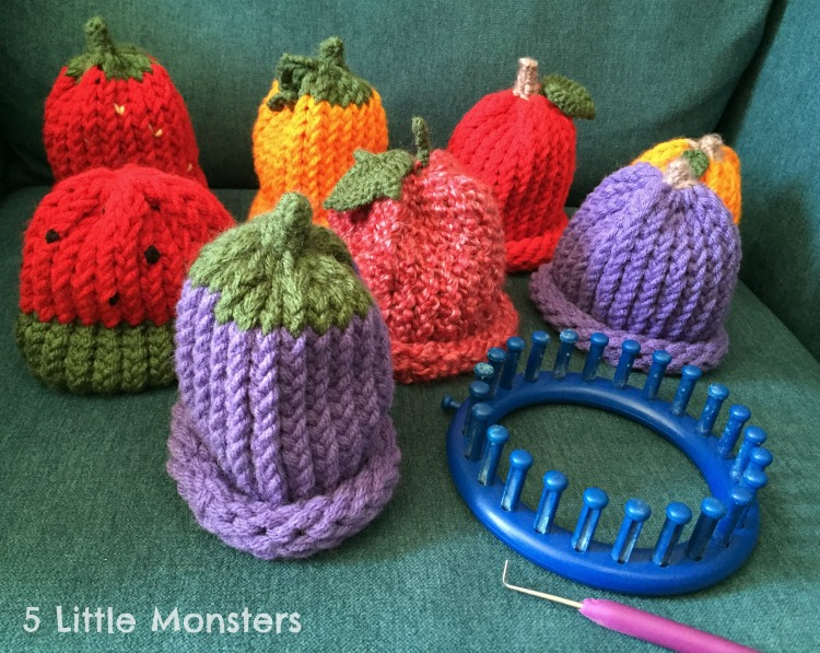 5 Little Monsters Fruit Hats On A Knitting Loom