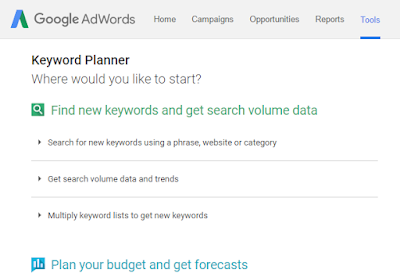 Google keyword planner's home page.
