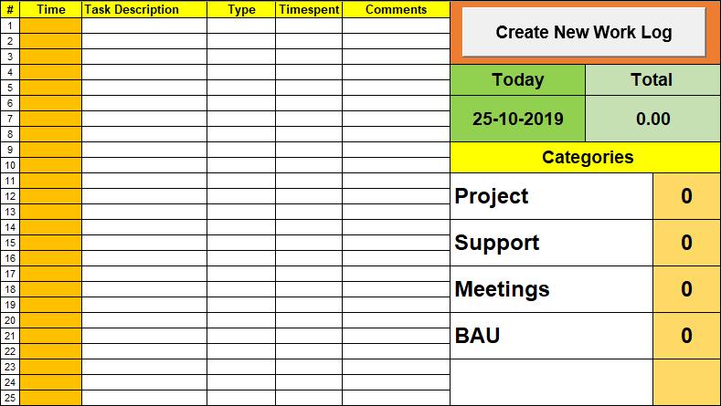 Daily Log, Work Log Template, work log