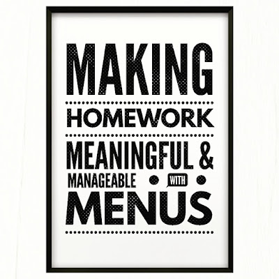 Blog post with free homework menu and corresponding printables includes all you need to know about implementing homework menus in the elementary classroom!