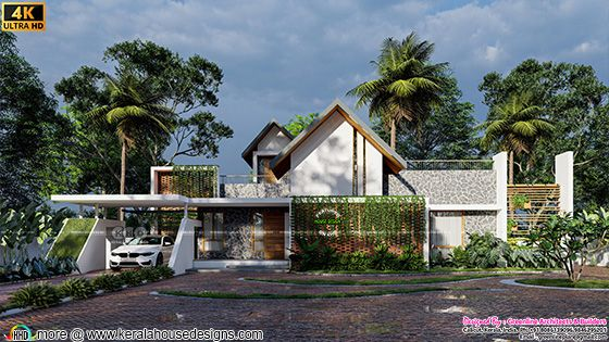 Front elevation of the tropical single floor home