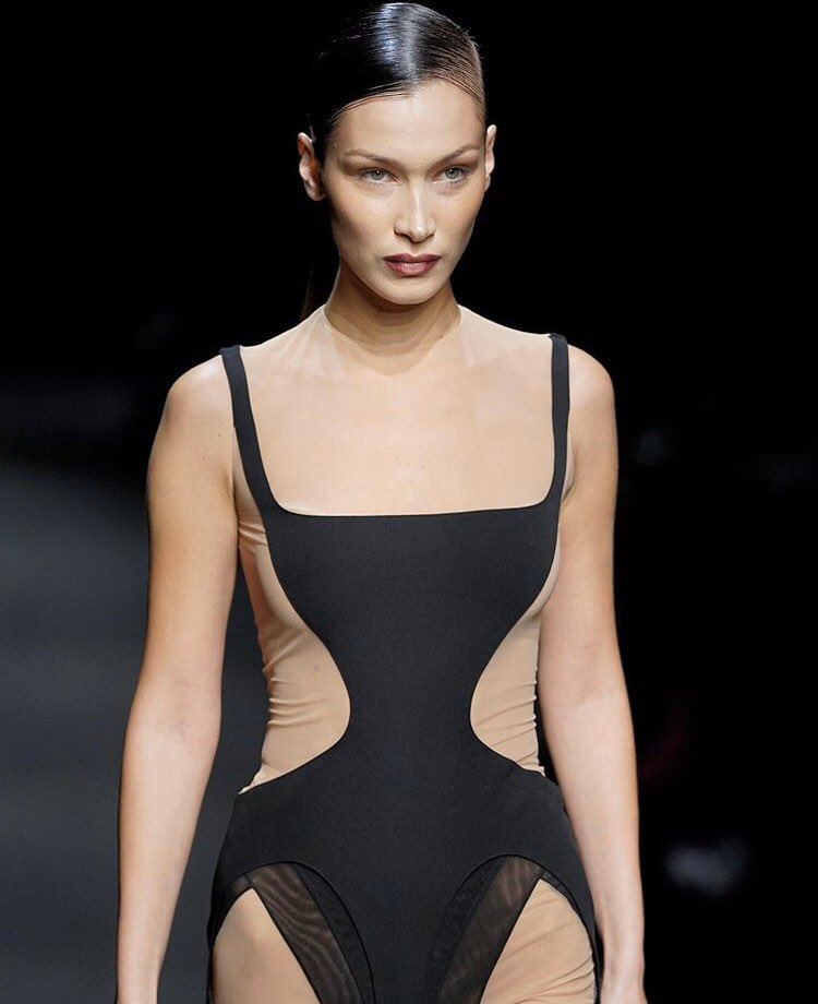 Bella Hadid is an edgy and racy sight on the Mugler Fall/Winter 2020 Paris Fashion Week Show