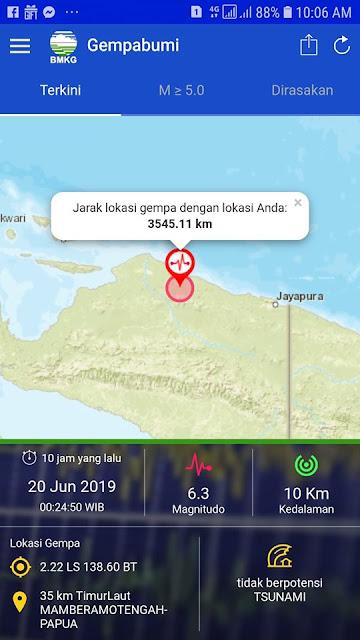 Gempa Berkekuatan 6,3 SR Guncang Mamberamo Papua