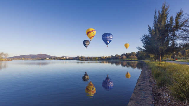 Soaring by hot air balloon, Canberra, ACT © VisitCanberra  Soar by hot air balloon over Canberra, Australian Capital Territory