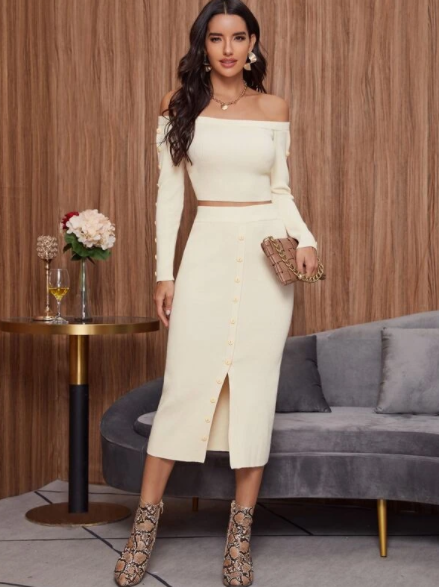 Beige off shoulder sweater and skirt set $32