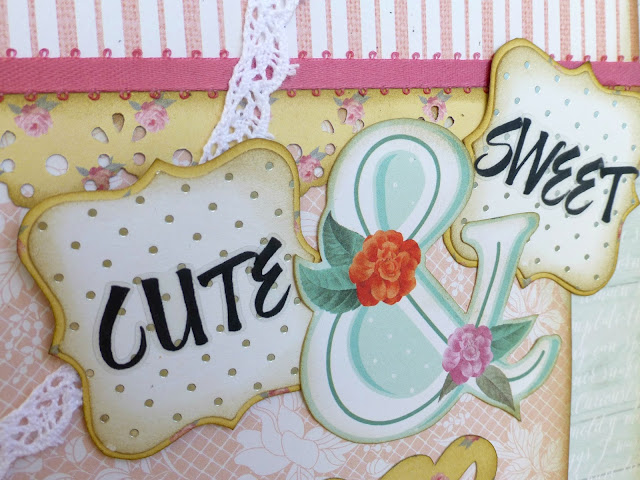 shabby vintage country scrapbooking layout close-up with DCWV papers