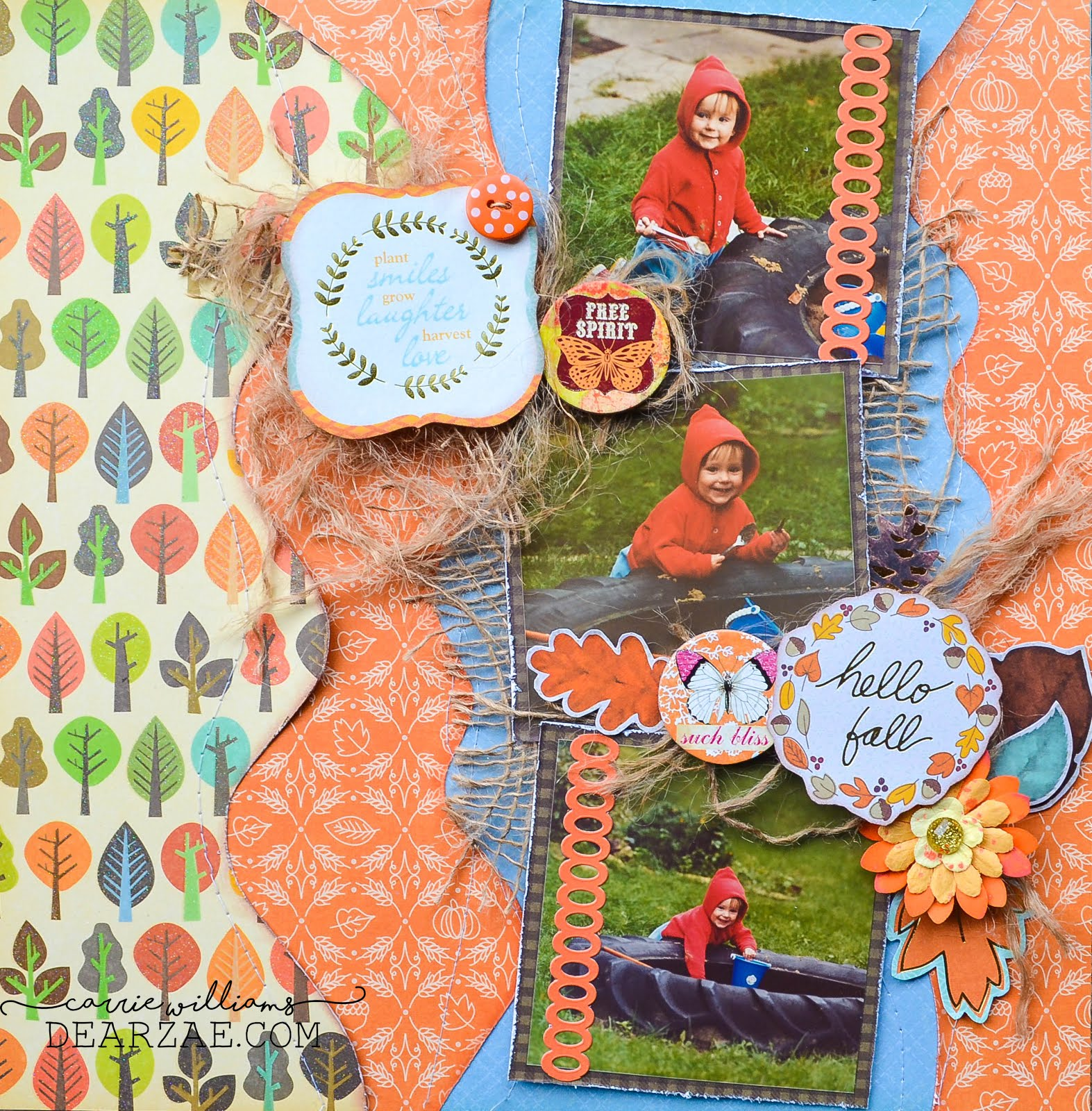 Autumn scrapbook page layout in orange and blue with burlap, stitching, and fall leaf die cuts and embellishments for Scrap Our Stash Design Team