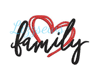 Embroidery design that says family with a heart around it from Lizzsews Etsy shop