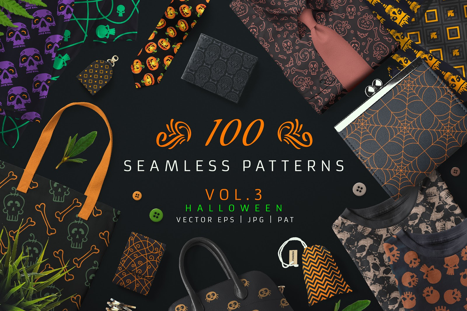 Bag of printing elements on materials More than 1300 items for printing on leather, paper, fabrics and everything