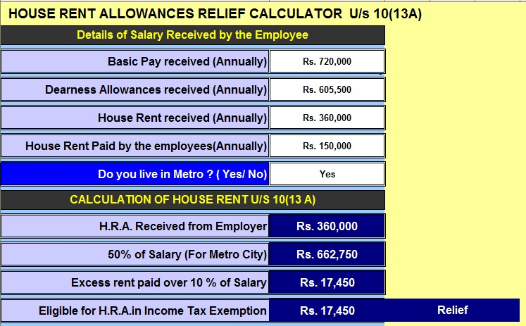 Income Tax H.R.A. Exemption Calculator U/s 10(13A)