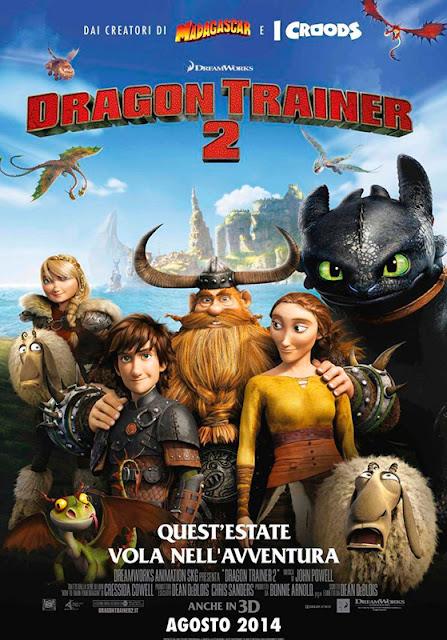 Cartel italiano con los protagonistas de la película de animación Cómo entrenar a tu Dragón 2