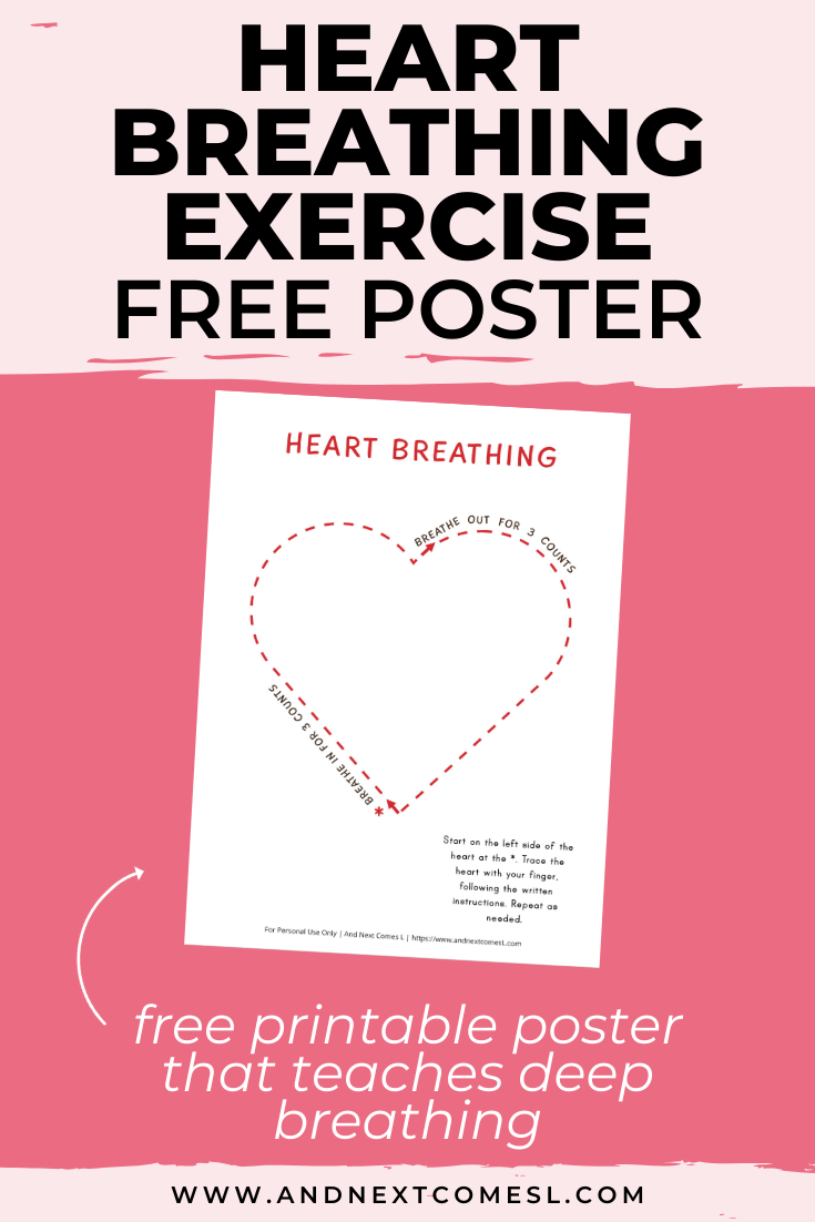 Free deep breathing printable for kids that's perfect for Valentine's Day