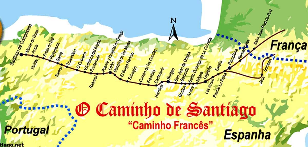 caminho de santiago de compostela mapa Diário de uma Peregrina: Mapa do Caminho de Santiago de Compostela caminho de santiago de compostela mapa