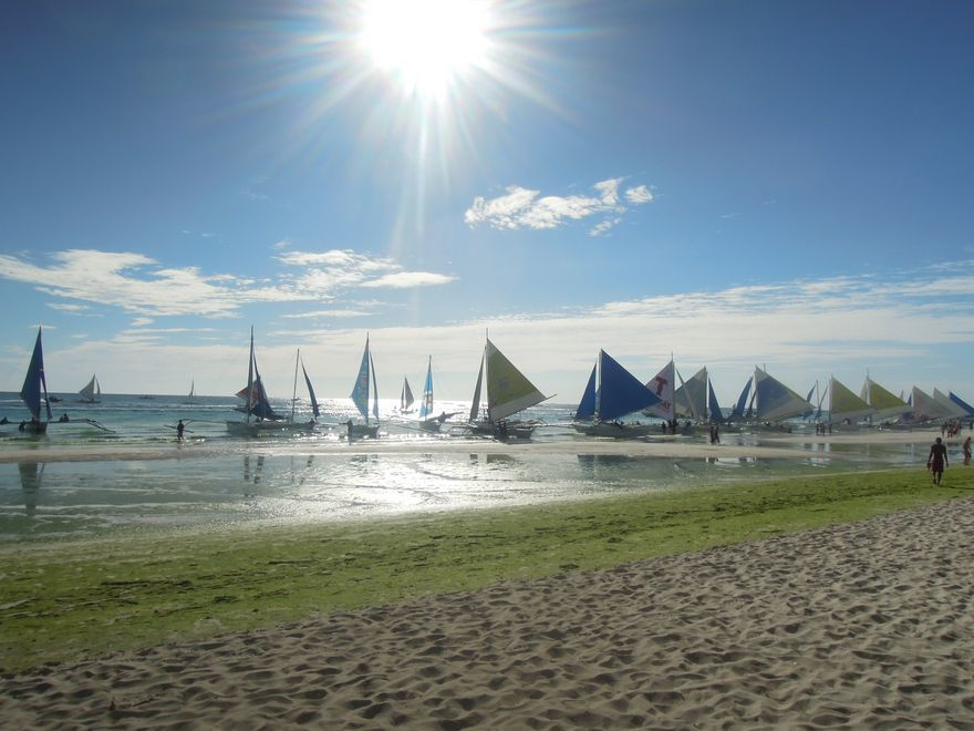 Paraw boats in Boracay