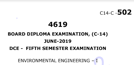 Sbtet Environmental Engineering-1 Question Paper c14 civil June-2019