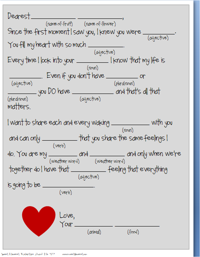 Valentine Mad Libs 1