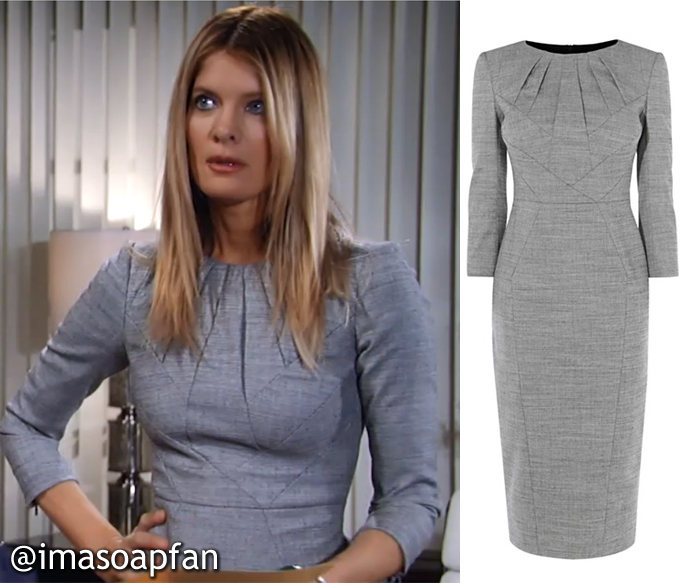 Nina Reeves, Michelle Stafford, Grey Wool Sheath Dress, Karen Millen, GH, General Hospital