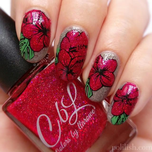 Hibiscus nail art using reverse stamping, by polilish