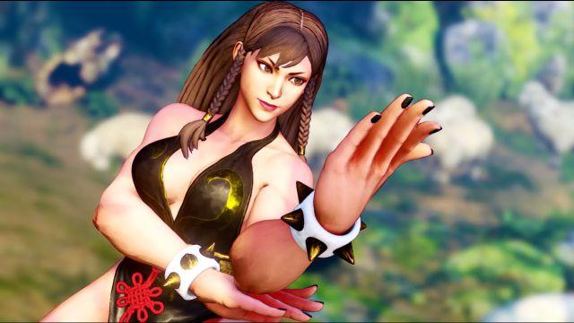 Chun-Li wearing the battle suit in Street Fighter V