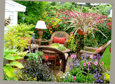 Adorable Home Garden Flower Concrete Patio Ideas For Small Backyard Plus Outdoor Wicker Rattan Furniture Set Patio With Red Cushion Pic 2016