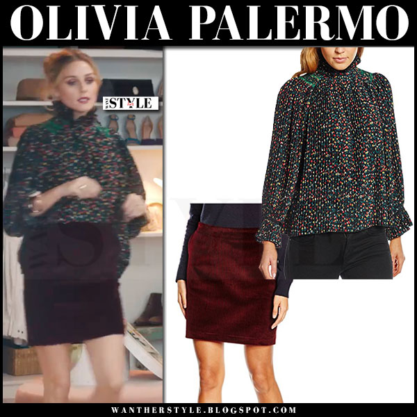 Olivia Palermo in multicoloured floral print blouse vanessa bruno florence and burgundy velvet mini skirt whyred heston what she wore