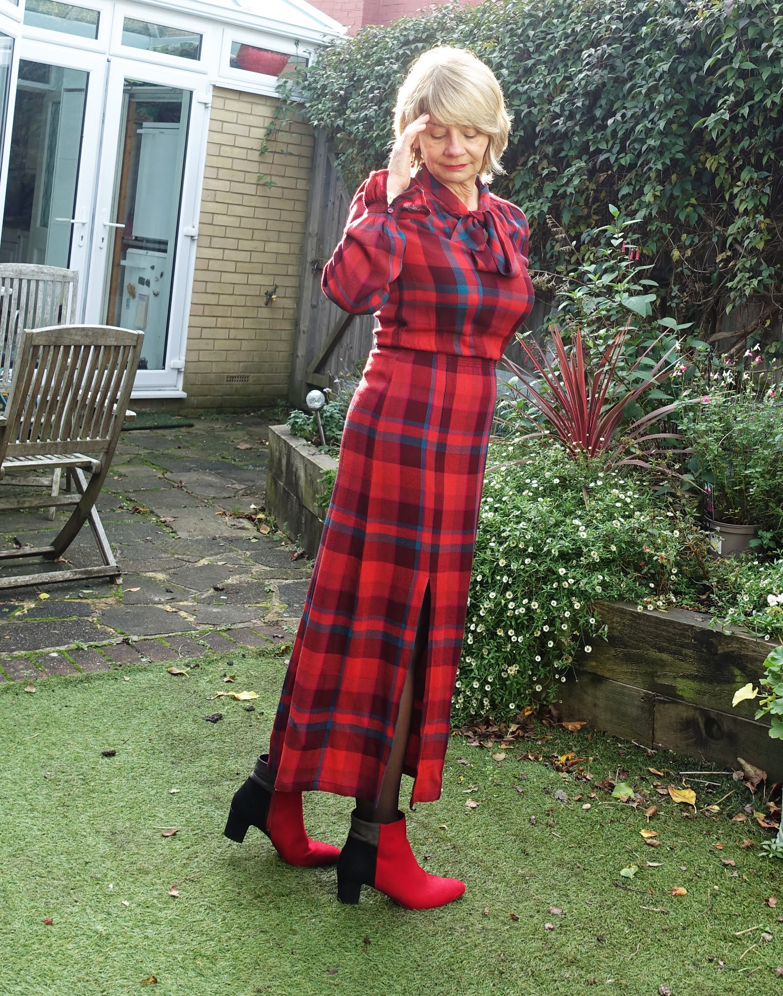 A red plaid midi shirt dress worn by Is This Mutton's Gail Hanlon