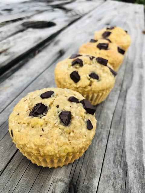 Muffins chocolat -  banane - coco