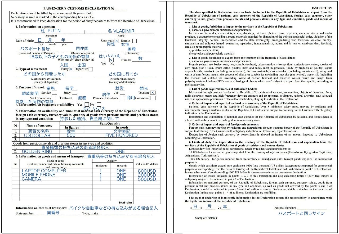 英語版の税関申告書 (クリックで拡大)