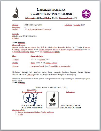 contoh surat bantuan keamanan danposramil untuk kegiatan kemah pramuka seo sunda